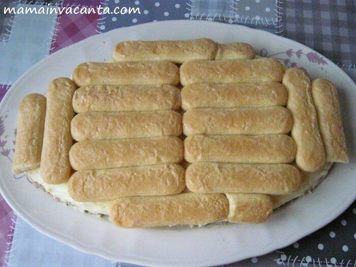 prajitura fara coacere cu piscoturi, piure de castane si frisca, budinca de vanilie, prajitura rapida, usoara