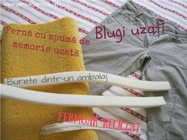 pernă spondiloză, materiale necesare, blugi uzați, pernă cu spumă de memorie, burete, fermoar